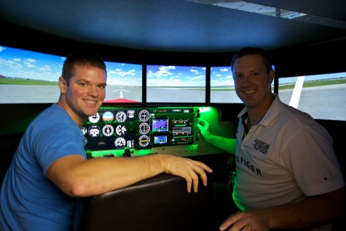 Dan and James in Macquarie University's flight simulator